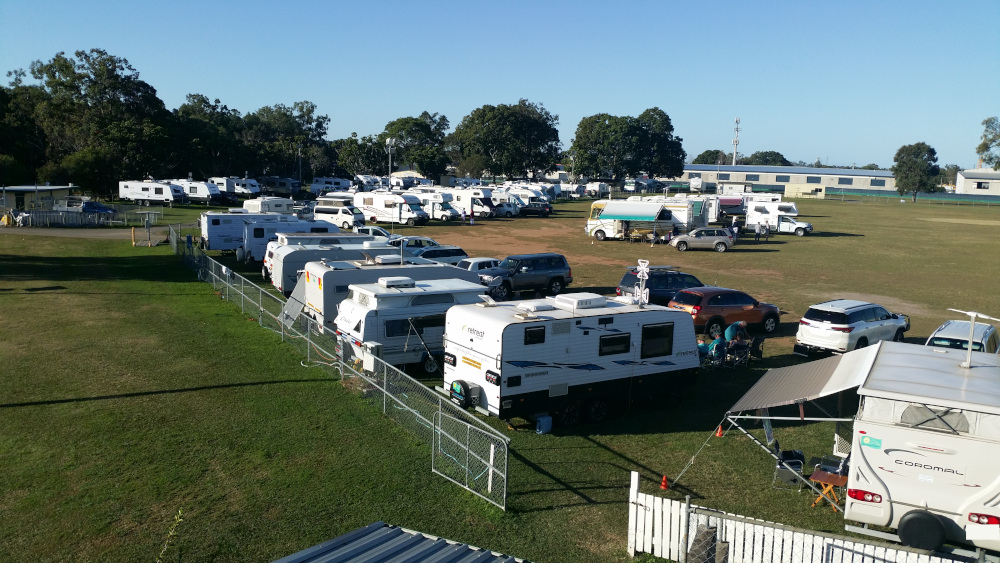 Pine Rivers Showgrounds oval with caravans.